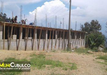 Avances de la construcción de Instituto Nacional de Educación Básica en la Aldea Pachojop